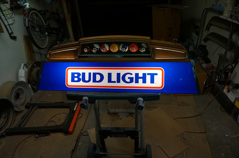 Lowrider pool table light sculpture tijuana rick art the person in the car is my father in laws father gigi gutierrez to give it a more personalized touch the light required re wiring since the original keyboard keysfo Choice Image